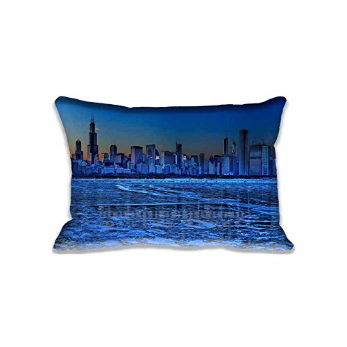 Chicago Skyline Pillow Covers Protector Two Sides Standard Zippered Pillowcase Pillow Sham 20x30inche for kids New Year Gift