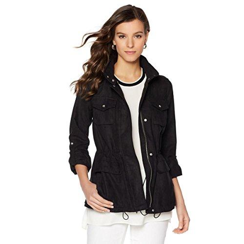 Vince Camuto Microsuede Long Sleeve Snap Up Utility Jacket Black S New 521-329 - Black Microsuede Jacket