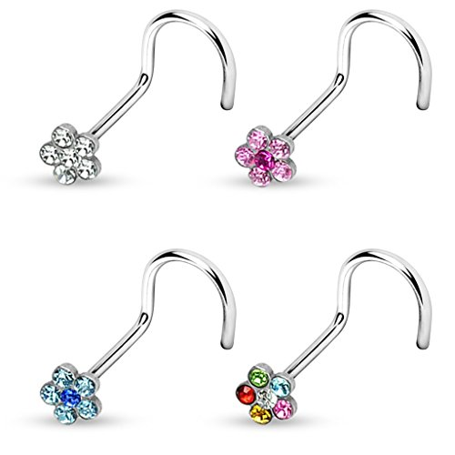 4-Color Set Gem Accent Flower Top Steel Nose Ring Screw Piercings (20 Gauge (0.8mm))