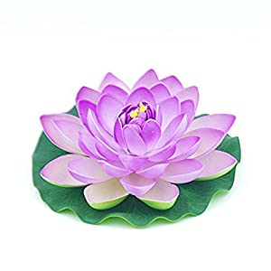 2 Pack- Artificial Floating Foam Lotus Flower Pond Decor Water,30cm/12inch 43