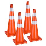 Yescom 36'' Traffic Cones Reflective Safety Cones Fluorescent Collars Overlap Parking Construction Emergency 4 Pack