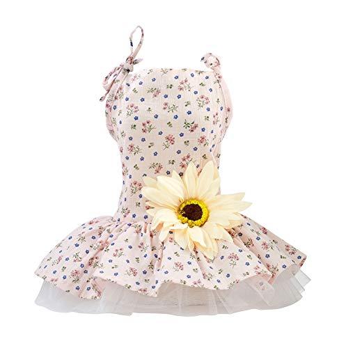 Adarl Summer Daisy Blossom Pet Dress for Dog Cat Princess Tutu Dress Skirt Pet Costumes Apparel,Pink D/L