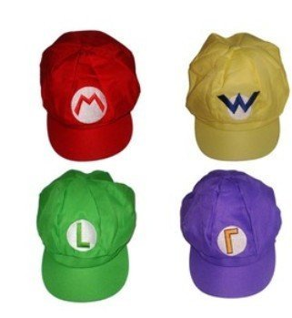 d33c56456990 4 PCS Super Mario Bros Hat - Green Red Purple Yellow - Mario Luigi Cap  Cosplay  Amazon.co.uk  Toys   Games