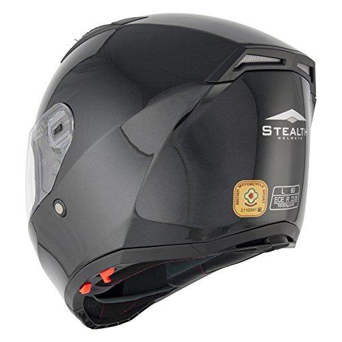 Stealth F117 cara completa negro casco de moto: Amazon.es: Deportes y aire libre