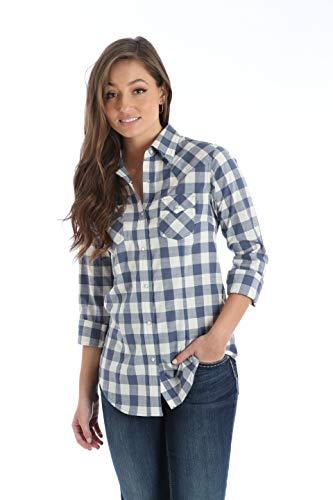 Wrangler Women's Long Sleeve Western Snap Shirt, Blue, M ()