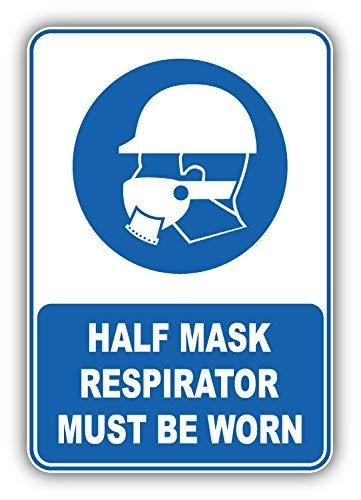 DG Graphics Half Mask Respirator Must Be Worn Mandatory Sign Art Decor 3'' x 5'' Vinyl Decal Sticker Wall Window Any Smooth Surface