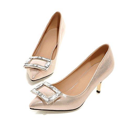 Minivog Femmes Boucle Carrée Bout Pointu Brevet Chaussures De Pompe Haute Or