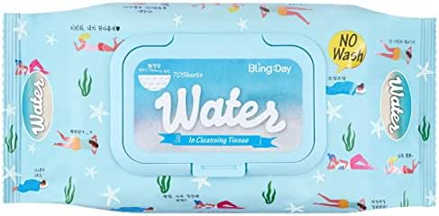Bling Day Facial Water Wipes Micellar Cleansing Tissue Face Makeup Remover Embossed Spunlace Fabric Contains Sea Water Sea Salt Made in korean skin care (70 Count)