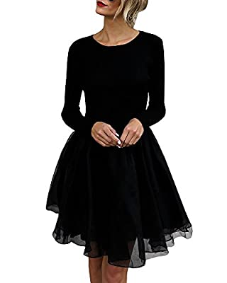 YOMISOY Womens Dresses Cocktail Black Flapper Knitted Long Sleeve Formal Prom Moni Dress