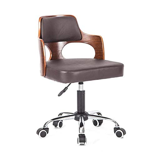 FENGFAN Business Chair, Comfortable PU Chair Wear Resistant Easy to Clean Chair Executive Chair Hotel Chair Club Chair Office Chair (Color : Dark Brown)