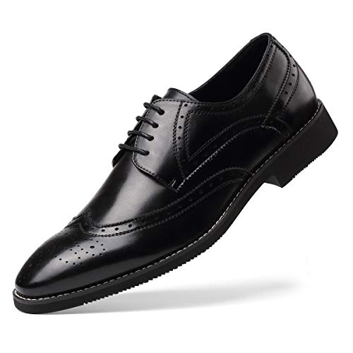 Men's Leather Oxford Dress Shoes Formal Wing-Tip Lace Up Derby Shoes Black 9.5
