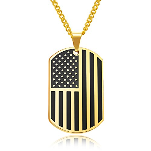 Men's Stainless Steel USA American Flag Dog Tag Pendant Necklace 24 Inch High Polish (Gold & Black)