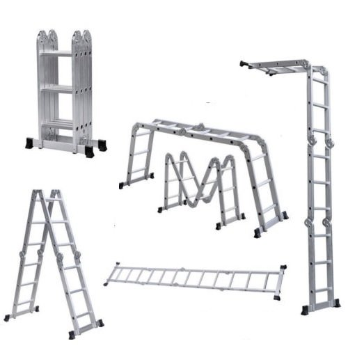 12.5FT Multi Purpose Aluminum Folding Step Ladder Scaffold Extendable Heavy Duty
