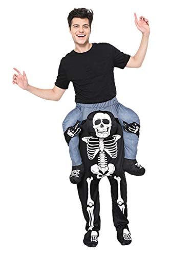 Honeystore Unisex Skull Carry Ride On Me Costume, Funny Riding Shoulder Cosplay Black -