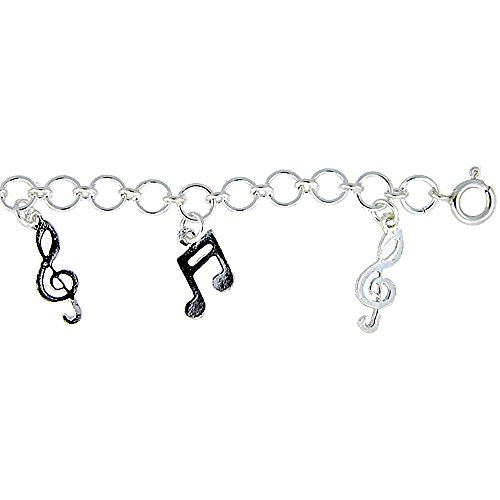 Sterling Silver Musical Notes Charm (Sterling Silver Musical Notes Charm Bracelet 25mm wide, fits 7-8 inch wrists)