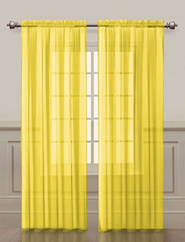 2 Pack: Ultra Luxurious High Thread Rod Pocket Sheer Voile Window Curtains by GoodGram - Assorted Colors (Yellow)