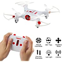 SHY-Drone Quadcopter- Syma X20 Pocket 2.4Ghz Mini RC Quadcopter Headless Mode Altitude Hold 6-Axis WIFI FPV RC Selfie Foldable, Flight Stability and Easy to Fly for Beginner, White