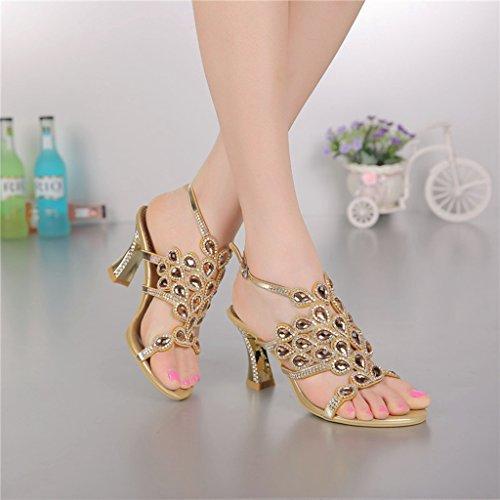 Sandals Wedding Fashion Doris Women's Summer Pumps Glitter Evening Gold Slippers Rhinestone Dress Shoes Aq8T4wq
