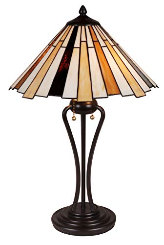Tiffany Style Table Lamp Stained Glass Blue White Cream Brown Gold Modern Accent Lighting Desk Bedroom End Table Setting Living Room Bedside Reading Night Light Office 25 x 16 inch Iron Tall Large