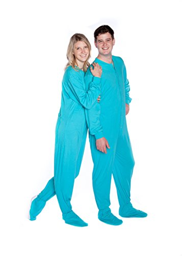 Big Feet PJs Turquoise Jersey Knit Adult Footed Pajamas No Drop Seat -