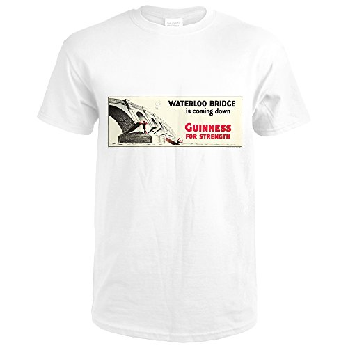 Guinness for Strength - Waterloo Bridge Vintage Poster (artist: John Gilroy) United Kingdom c. 1934 (Premium White T-Shirt - Waterloo Premium