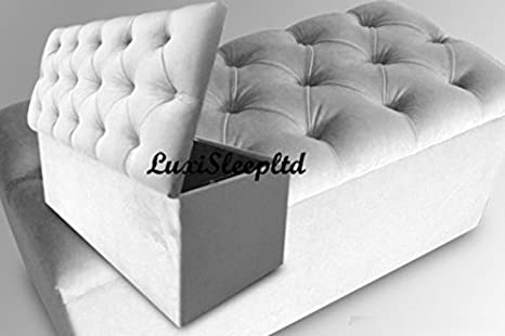 40/'/' Spanish Ottoman in Crush Velvet Fabric ideal   Storage and Seating Solution