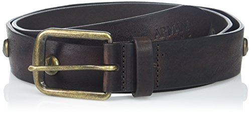 Armani Exchange Men's Leather Belt with Copper Latch and Studs, dark brown, 31