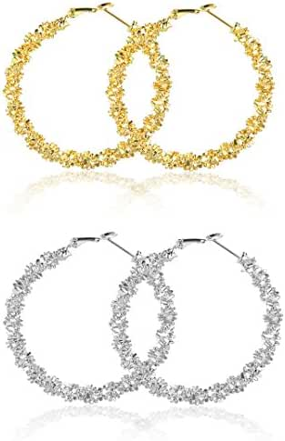 OUTLET SALE! Halukakah Women's 18K Real Gold/Platinum Plated Pure Copper Hoop Earrings Exaggerate Round Ring Bling Bling Diameter 14mm Set