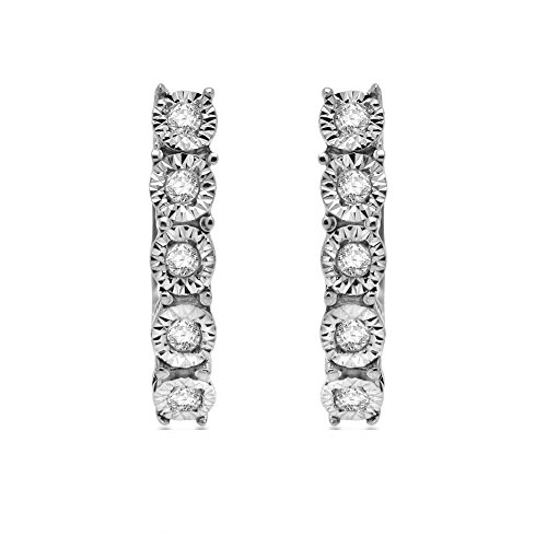 2/3 Ct Round Cut Natural Diamond Hoop Earrings In 925 Sterling Silver by Omega Jewellery