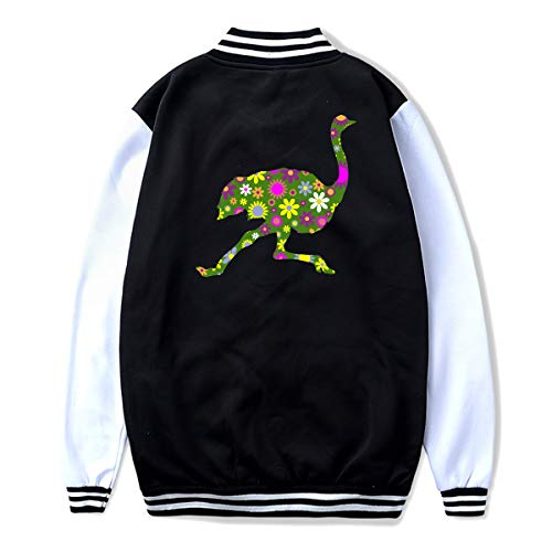 Unisex Youth Baseball Uniform Jacket Retro Floral Running Ostrich Coat Sport Outfit, Back Print