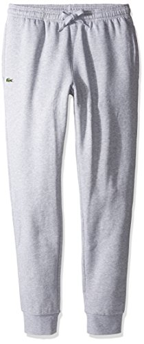 Lacoste Men's Sport Fleece Trackpant with Rib Leg Opening, Silver Chine, ()