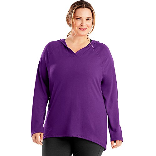 Just My Size Women's Plus Size Active French Terry Pullover Hoodie, Plum Dream, 3X
