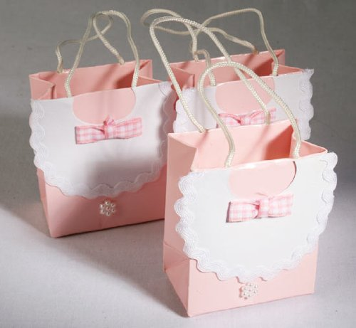 Miniature Gift Bags (Package of 12 Sweet Pink White Bib with Gingham Bow and Pearl Accent Miniature Favor Gift Bags)
