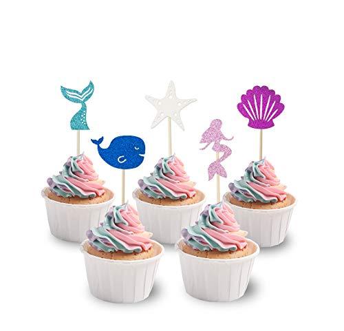 (KAPOKKU Glitter Mermaid Cake Topper Happy Birthday Cake Picks Mermaid Cake Decoration for Mermaid Baby Shower Birthday Party Supplies (mermaid under the sea cupcake)