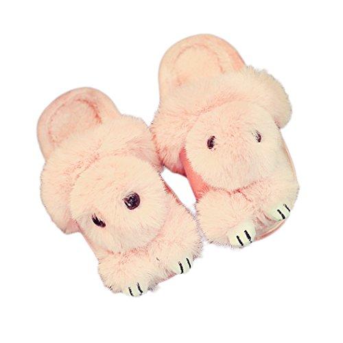 Raylans Pantoufles De Faux Lapin Chaud Intérieur De Dessin Animé Hiver Chaussons Souples Anti-dérapant Chaussures De Chambre À Coucher Maison Rose