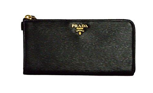 Prada Womens 1ML183 2EZZ Vitello Move Leather Wallet Nero (Black)