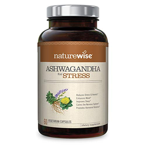 NatureWise Ashwagandha for Stress Relief | KSM 66 Ashwagandha Organic Extract + GABA, L-Theanine, Rhodiola for Everyday Stress & Anxiety Relief (⬇ Watch Product Video in Images) 60 Veggie Capsules