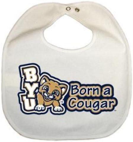 Kid n Me Byu Cougars Newborn Vinyl Snap Bib All White