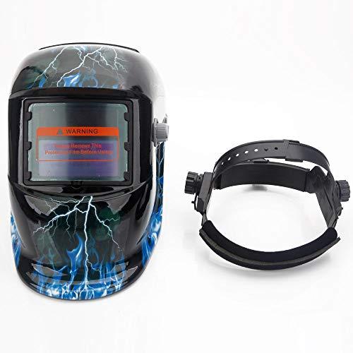 OxiQmart Pro Auto Darkening Solar Powered Welding/Grinding Helmet Mask Lightning Skull
