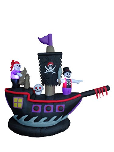 BZB Goods 7 Foot Long Halloween Inflatable Pirate Ship with Skeletons Crew Skull -