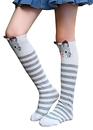 Ideas For Eighties Fancy Dress (SportsWell Girls Cute School Uniform Stockings Cartoon Animal Knee High Socks, Grey bear)