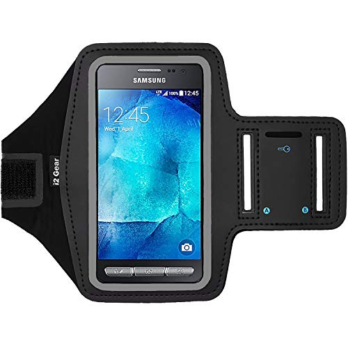 Fitness Cell Phone Armband for Running - Workout Phone Holder with Adjustable Strap, Reflective Edge - Arm Band Case for Samsung Galaxy Xcover 3 G389F (Black)