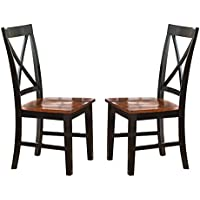 Steve Silver Company Kingston Side Chair, Set of 2, Oak/Black