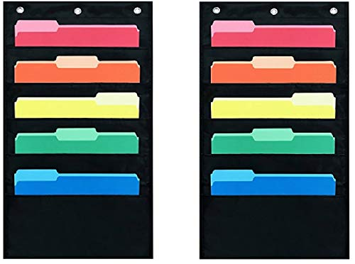 Pack of 2 - Five Pocket Compact Storage Pocket Chart, Hanging Wall File Organizer by Essex Wares - Organize Your Assignments, Files, Scrapbook Papers & More (Black)
