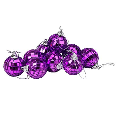 Northlight 9ct Purple Mirrored Glass Disco Ball Christmas Ornaments 1.5