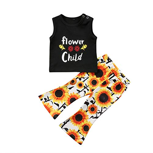 (Toddler Baby Girl Sleeveless Vest Top Sunflowers Long Pant Bell-Bottoms Summer Outfits Clothes Set (A, 4-5T))