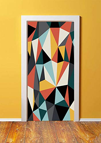 Unified Charger - Abstract 3D Door Sticker Wall Decals Mural Wallpaper,Cubist Art with Several Multicolored Geometrical Shapes Forming a Unified Work Decorative,DIY Art Home Decor Poster Decoration 30.3x78.9503,Multico