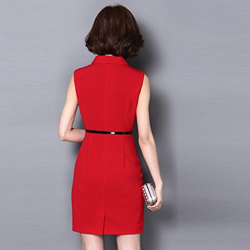 Slim Style Wear Size Red Plus Xxxl Summer Yananhome Women's color Red Dress Bq0xnt15