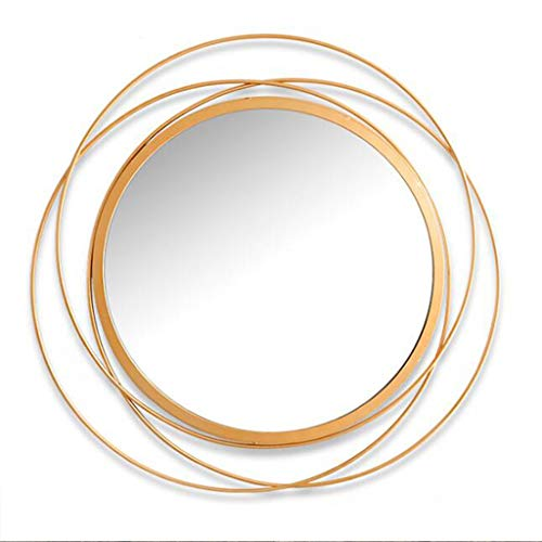 FLYSXP Decorative Mirror Oversized Round Antique Gold Swirl Mirror for Living Room and Office Space Wall Mirror (Color : B)