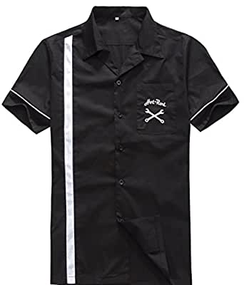 Candow Look man shirts cotton black&white embroidery shirt